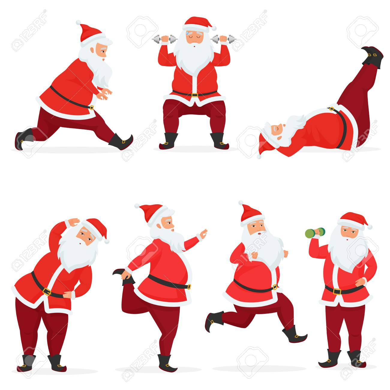 Vector funny and cute Santa Claus set does gym exercises with dumbbells and barbell isolated. Sport fitness santa - 122040257