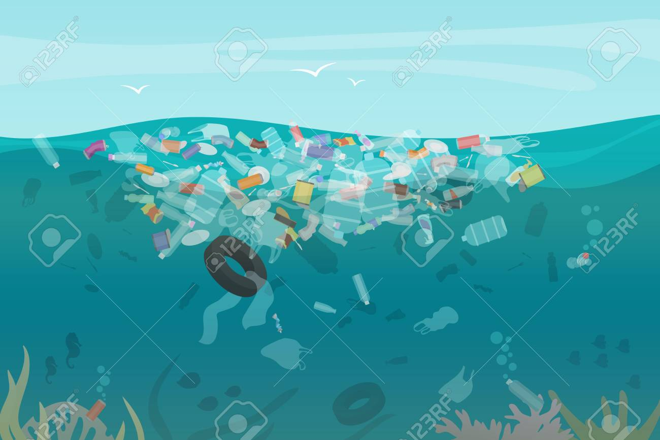 Plastic pollution trash underwater sea with different kinds of garbage - plastic bottles, bags, wastes floating in water. Sea ocean water pollution concept vector illustration - 122040478