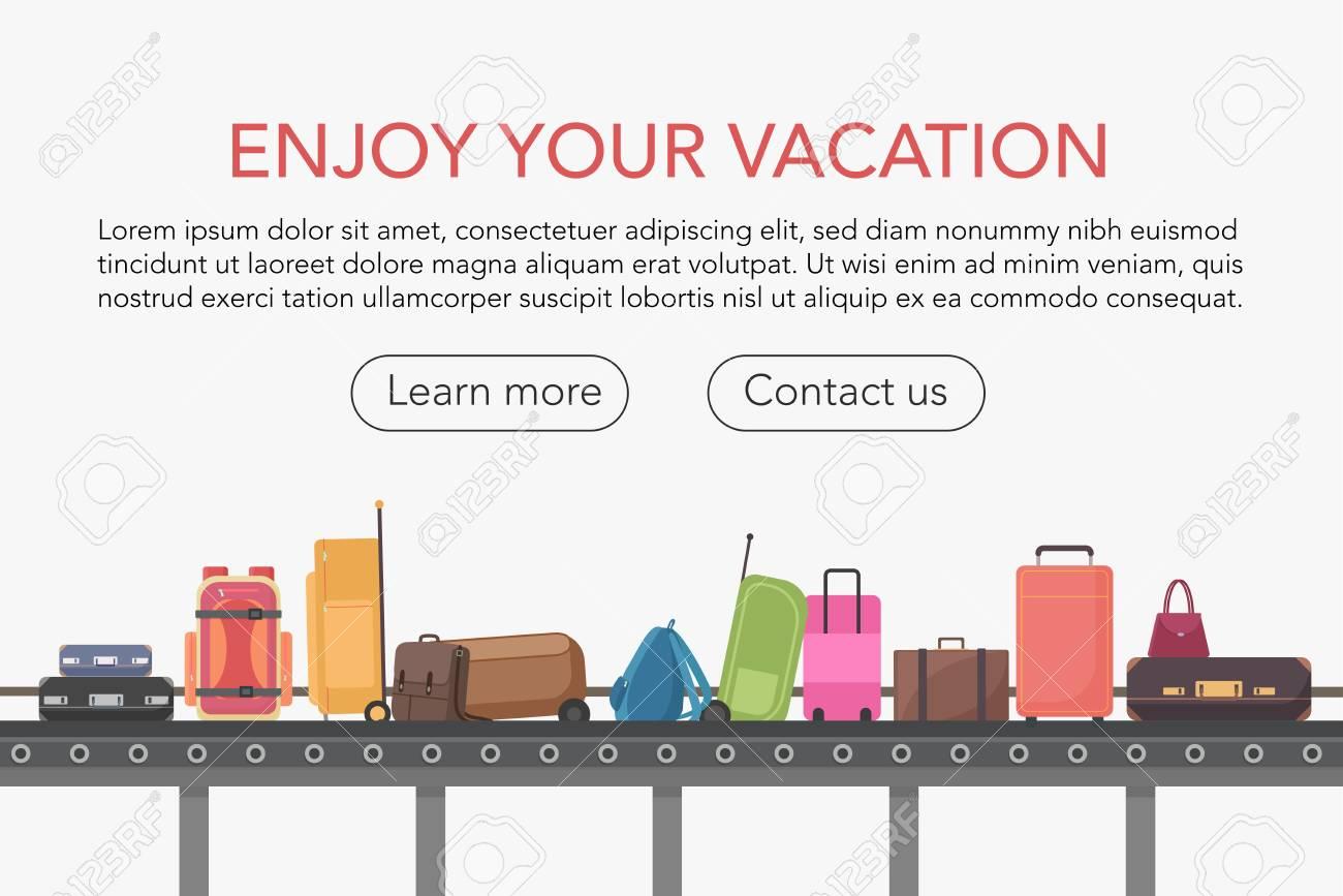 Conveyor belt in airport baggage hall. Baggage claim vector illustration - 122040490