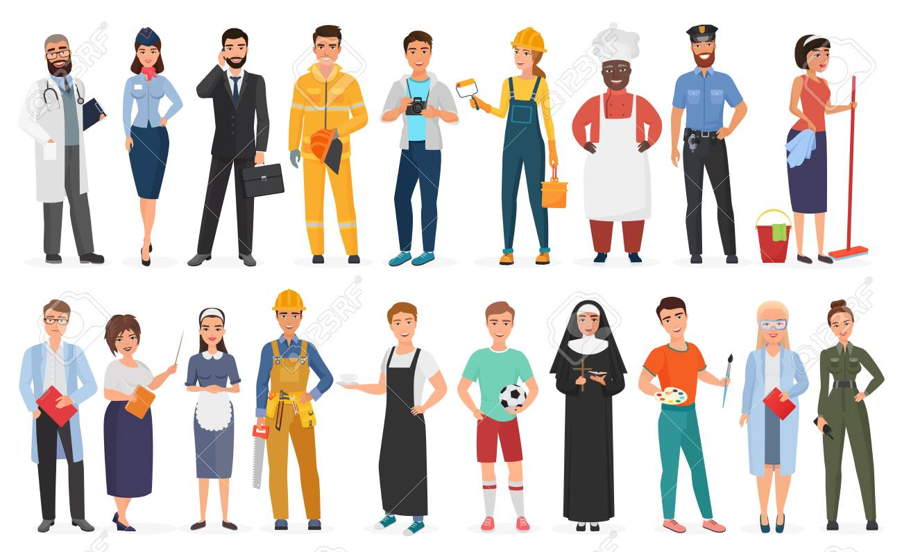 Collection of men and women people workers of various different occupations or profession wearing professional uniform set vector illustration - 122040546