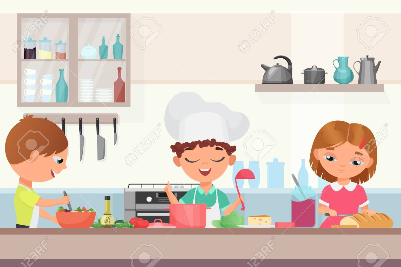 Happy little cute children kids cooking delicious food in the kitchen. Chef boy in a cooks cap holds a ladle cooking soup, girl cuts the baton, kid in an apron prepares salad vector illustration. - 122604950