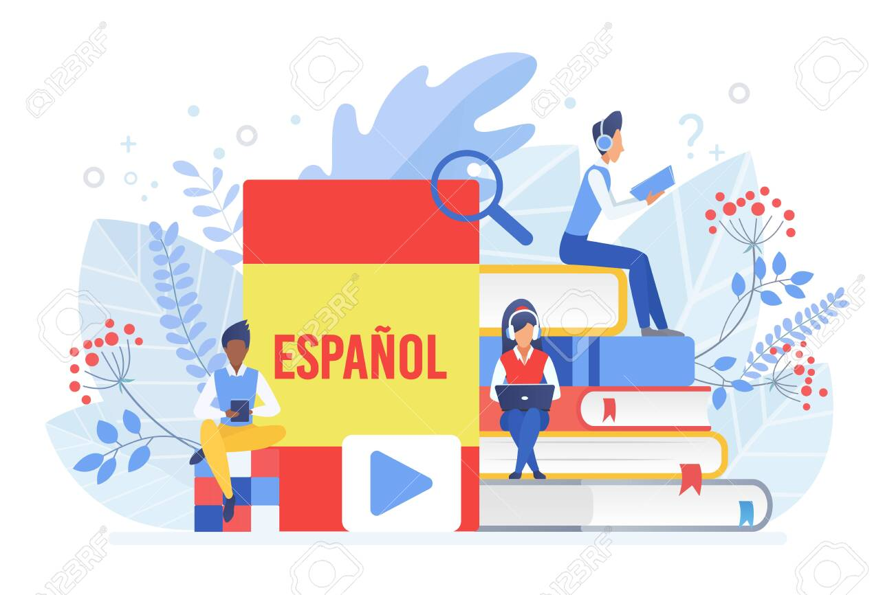 Online language courses flat vector illustration. Distance education, remote school, Spain university. Spanish language Internet class, e learning isolated clipart on white background - 140562950