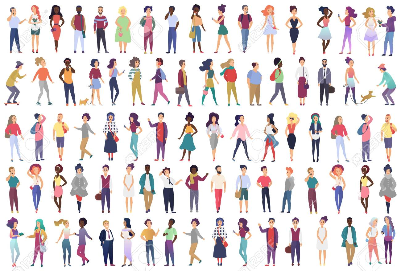Fashionable group of male and female cartoon characters dressed in trendy clothing in different poses. Crowd of tiny people wearing stylish clothes flat gradient color vector illustration - 140988736