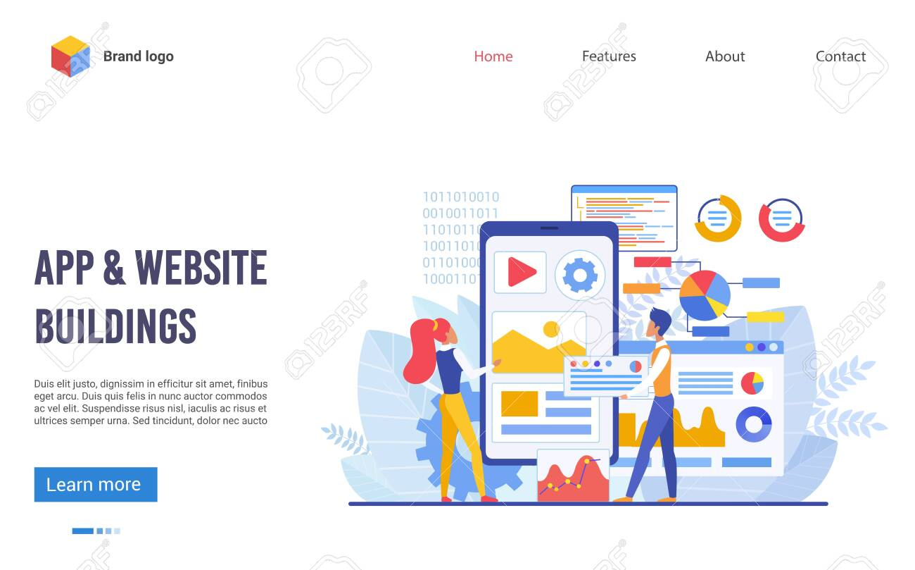 Application and website buildings landing page flat vector illustration concept. Boy and girl team creates new digital product, looks at big screen and discuss future program interface and elements - 143428633