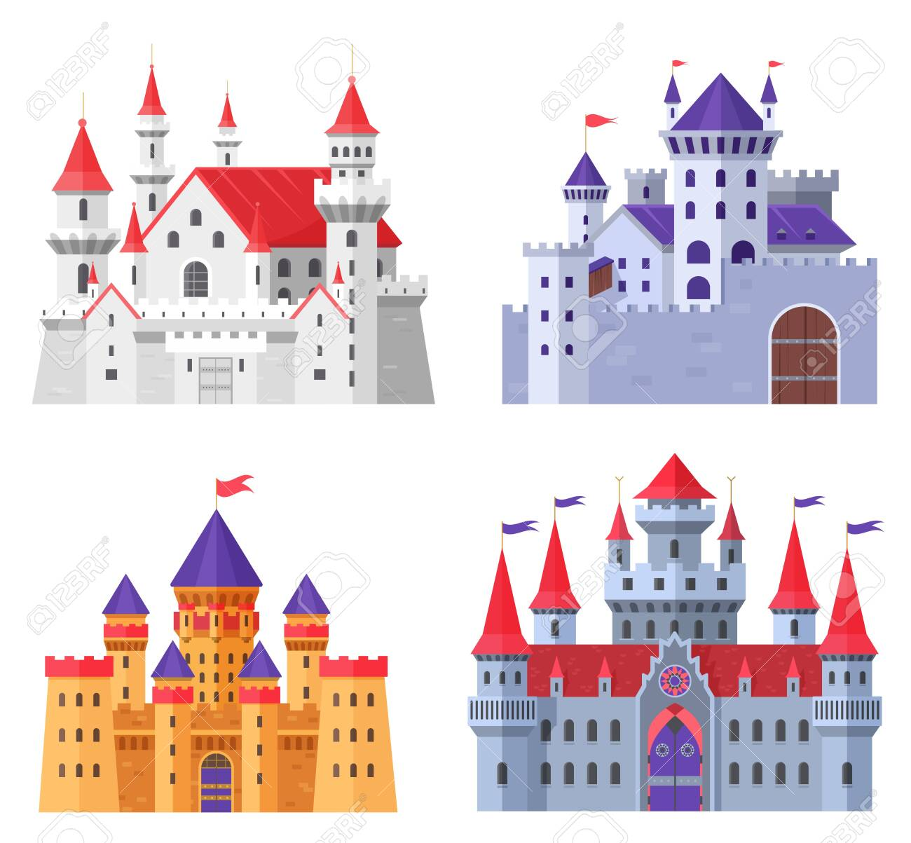 Medieval fort castle vector illustration set. Cartoon flat old fantasy kingdom collection of royal fairytale fortress for king and queen, fairy citadel, fortified palaces with gate isolated on white - 151166497