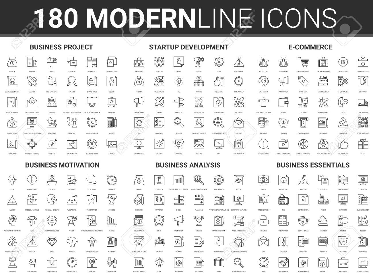Corporate business startup vector illustration. Flat thin line icon set of financial data technology, success strategy for development of business finance investment, successful project start symbols - 152762712