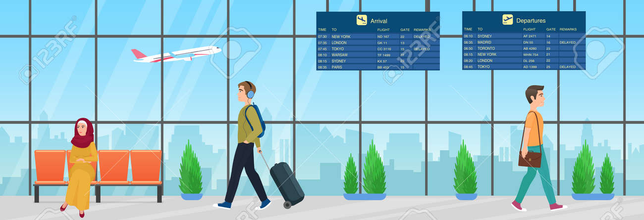 Passenger people with luggage waiting for airplane flight in airport departure room interior vector illustration. Cartoon young muslim woman character in hijab sitting in chair, man walking background - 169878288