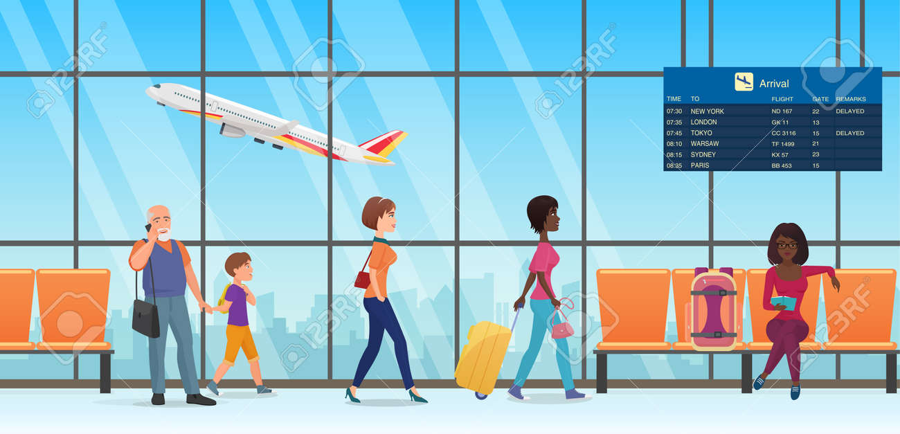 People passengers in international departure airport terminal interior vector illustration. Cartoon family tourist characters walking, talking by phone, waiting and sitting in chairs background - 169878311