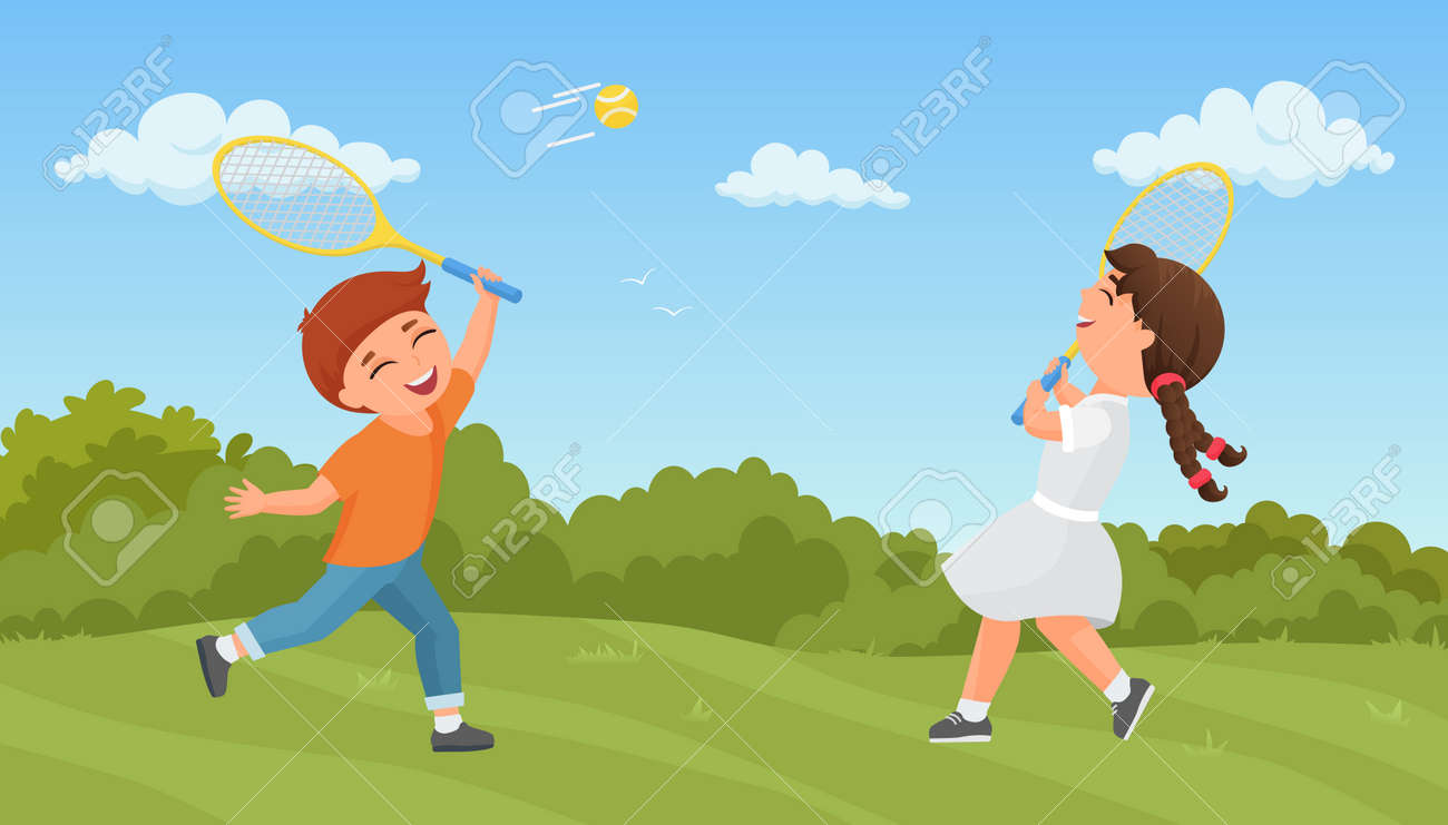 Kids play tennis in summer park vector illustration. Cartoon excited boy girl player characters training, playing sport game together outdoors, holding rackets, active healthy lifestyle background - 169878337