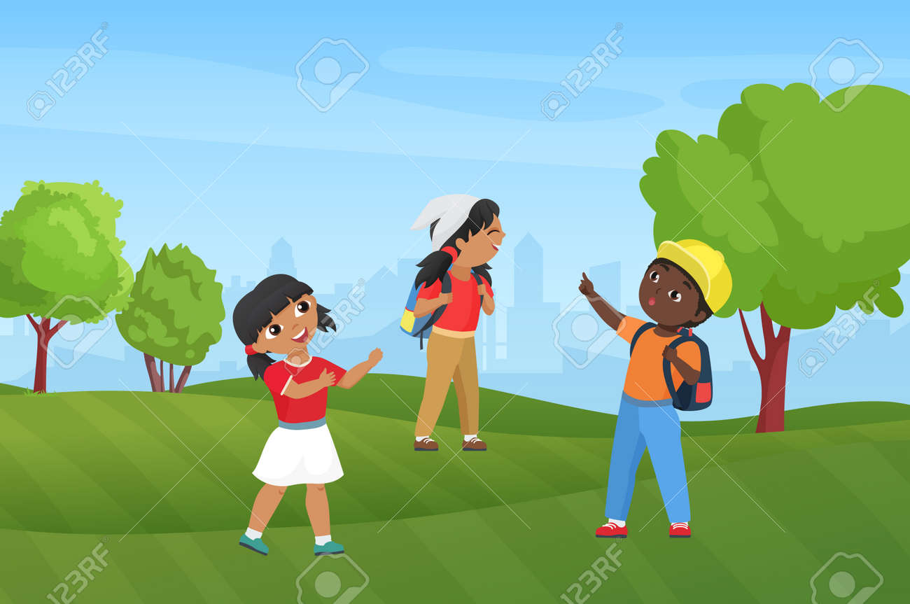 Happy children hike in summer park nature landscape vector illustration. Cartoon preschool funny boy girl child characters with backpacks hiking, diverse kids hikers tourists camping background - 169878340