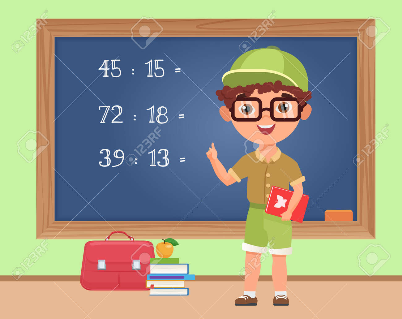 Kid boy student studying math in classroom, education vector illustration. Cartoon schoolboy standing at blackboard to write mathematical exercise, elementary school pupil on math lesson background - 169878341