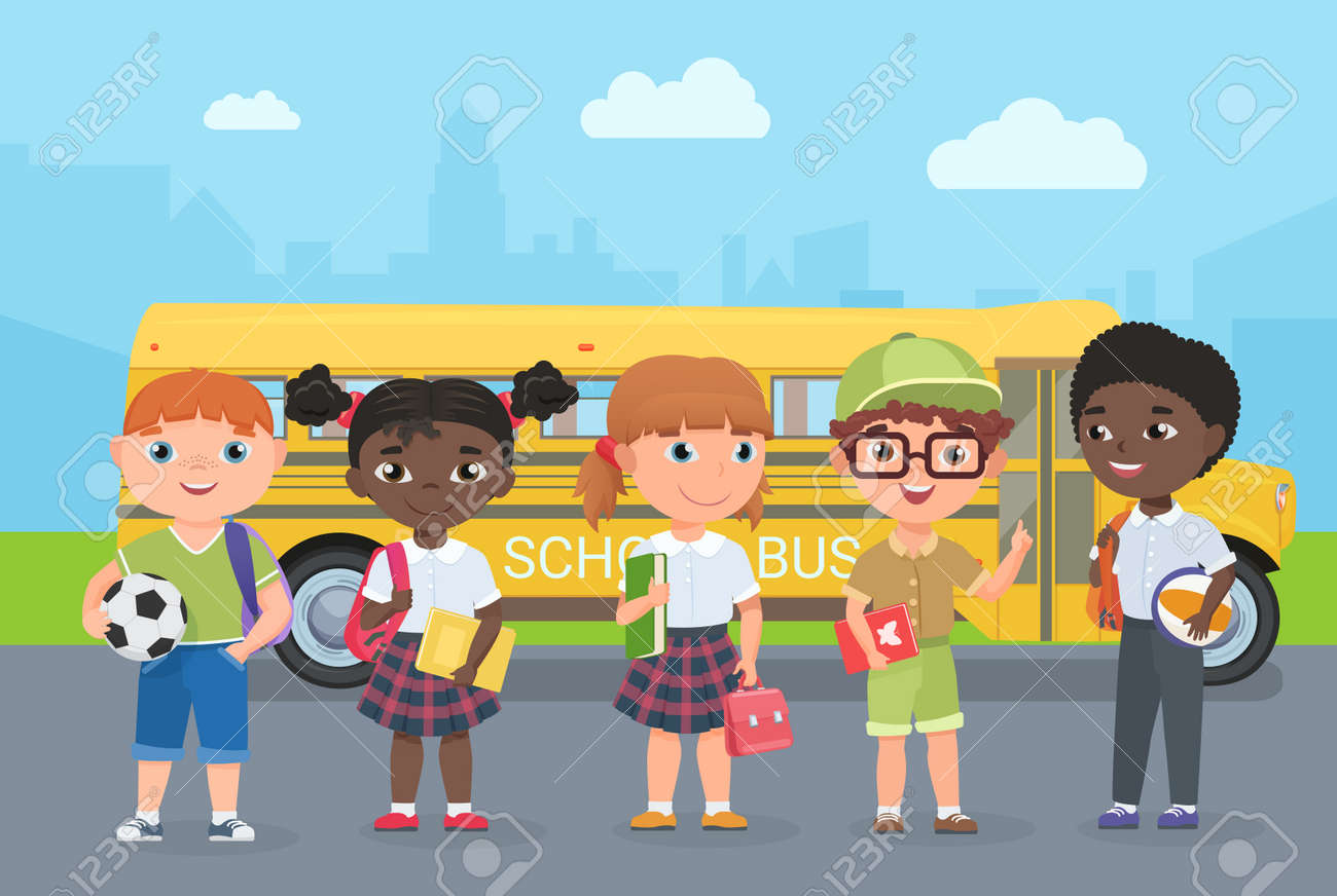 Happy kids stand on road in front of school bus vector illustration. Cartoon young schoolbus passengers travel to study, girl boy child holding ball, school bag and book, children go for knowledge - 169878343