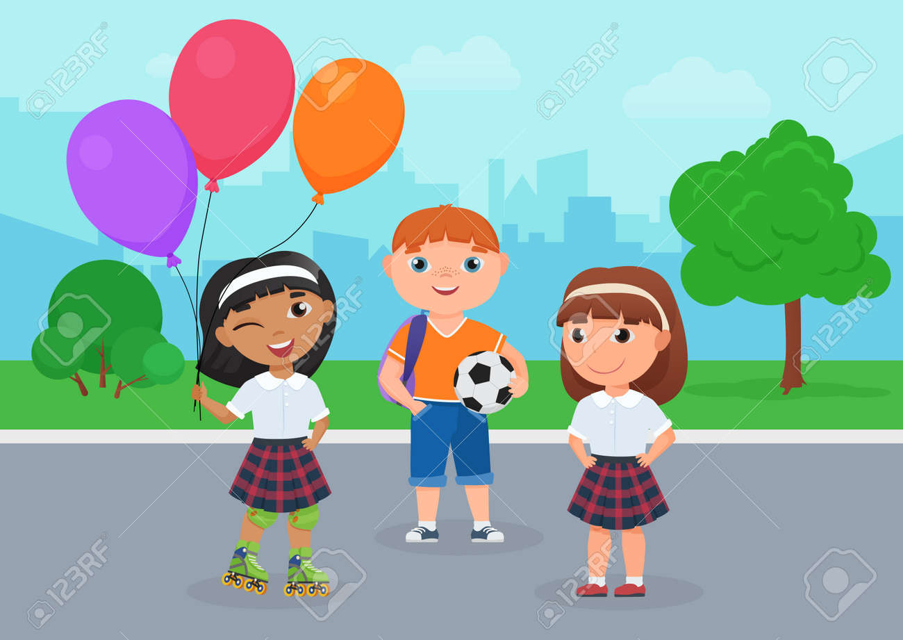 Happy friends children in school uniform stand together in park vector illustration. Cartoon girl in roller skates holding balloons, boy holding ball to play football, kids friendship background - 169878344