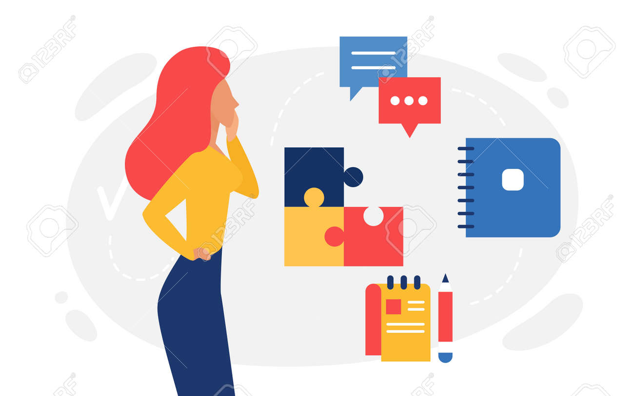 Logic thinking, abstract psychology concept vector illustration. Cartoon woman character thinks about missing piece of puzzle, lady looking for answer, online communication messenger windows icons - 169878345