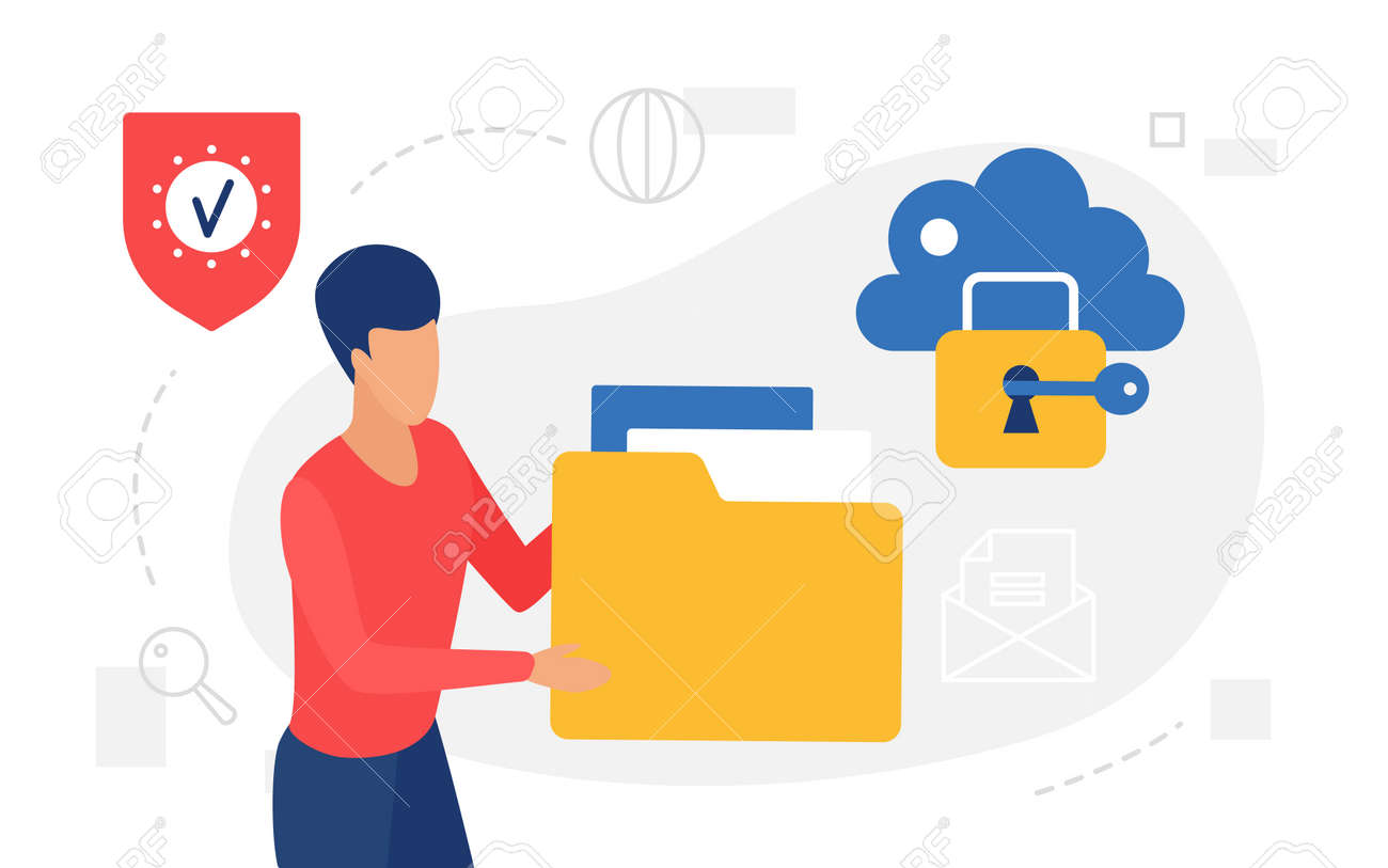 Cloud storage internet technology concept vector illustration. Cartoon man user character holding big folder with information documents to share and upload data files directory, sharing archive - 169878347