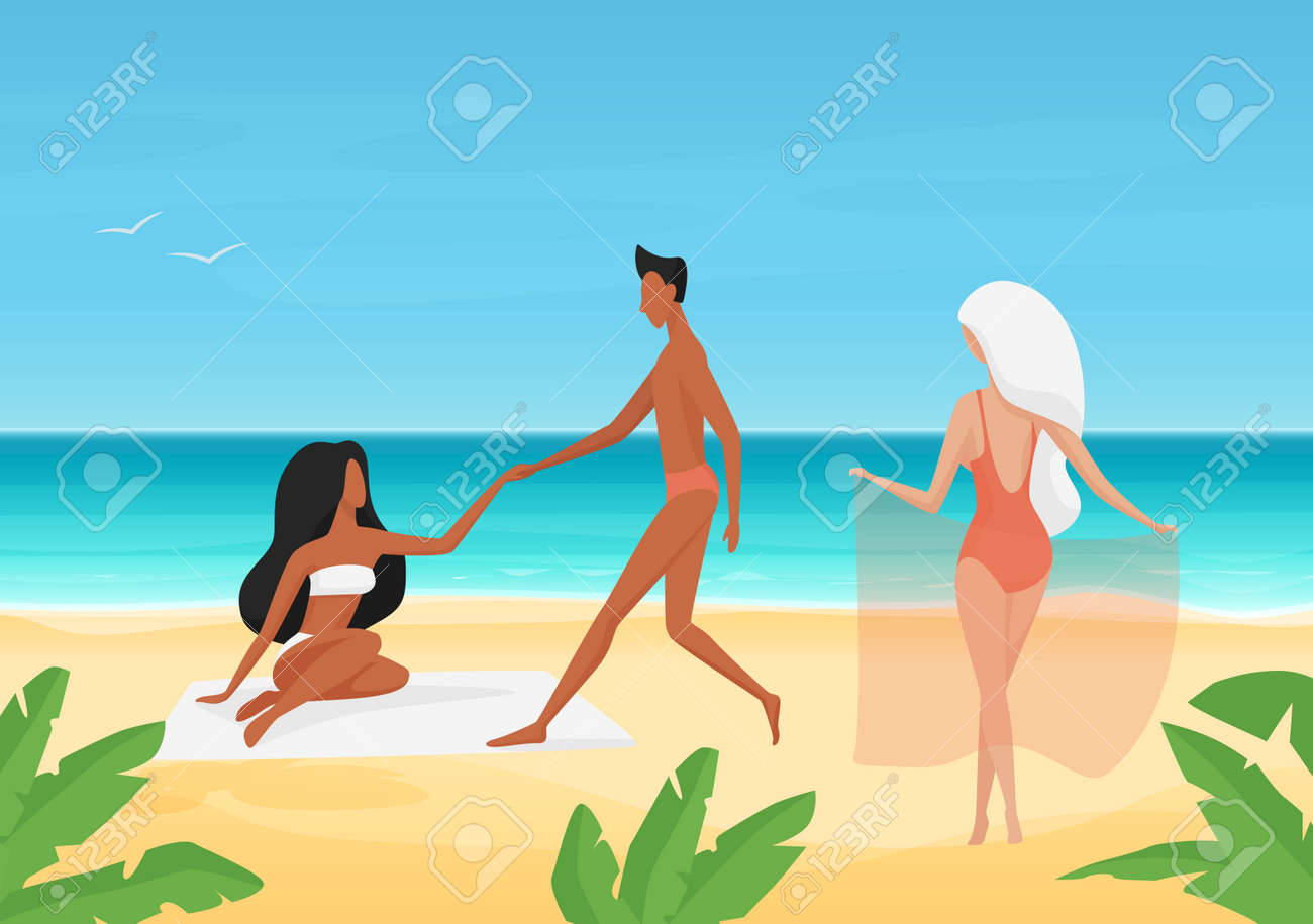 People in swimsuits on date, sunbathe and rest on summer sea tropical beach vector illustration. Cartoon young man character holding girls hand, dating and sunbathing on summertime vacation background - 169878351