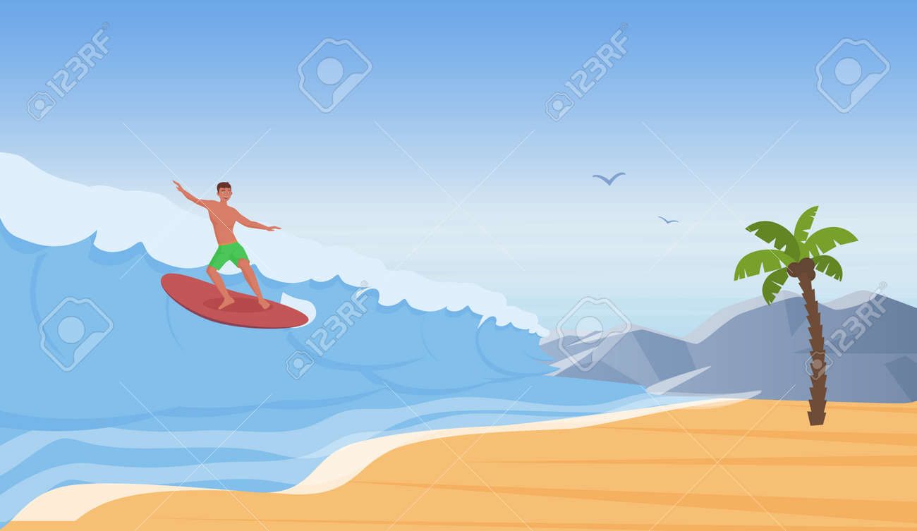 Surfer people surf, ride water wave on sea beach, summer adventure vector illustration. Cartoon happy young man character surfing on surfboard, extreme sport, summertime travel vacation background - 169878352