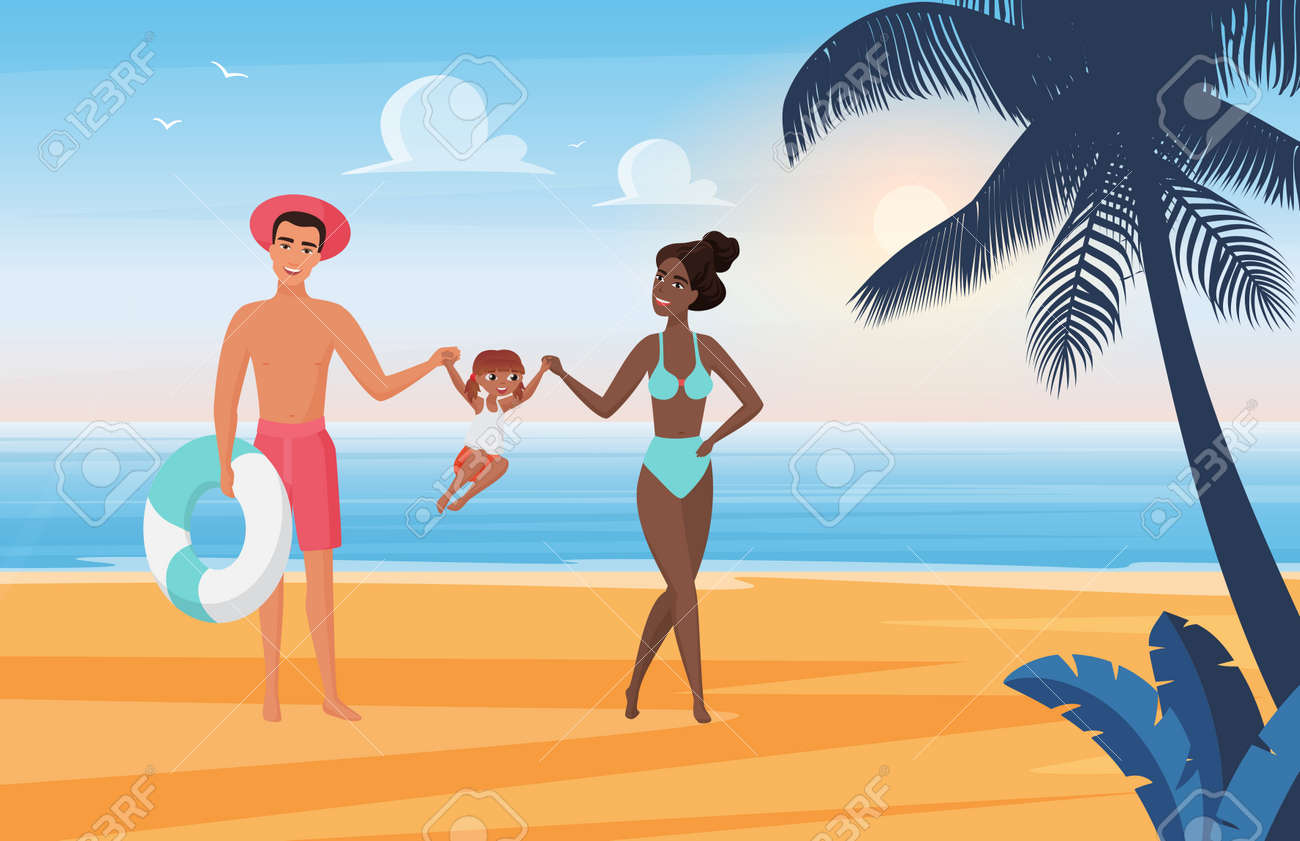 Family happy people have fun, sunbathe and play together on summer sea beach vacation vector illustration. Cartoon young mother father and kid girl tourist characters playing, sunbathing background - 169878356