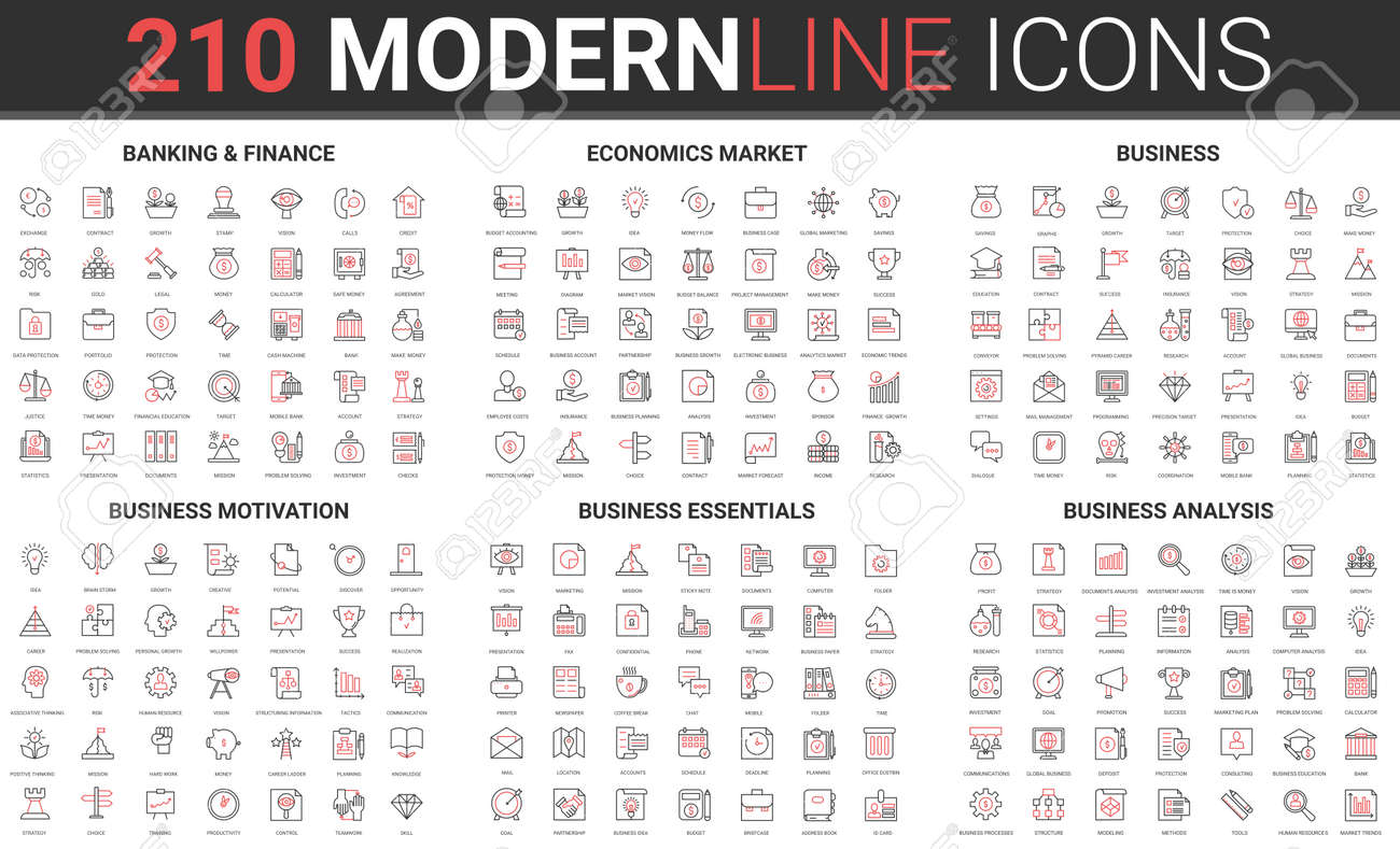 Safe banking and finance, economy stock market thin red black line icon vector illustration set. Outline symbols for business essential, motivation, analysis analytics of business financial operation - 169878217