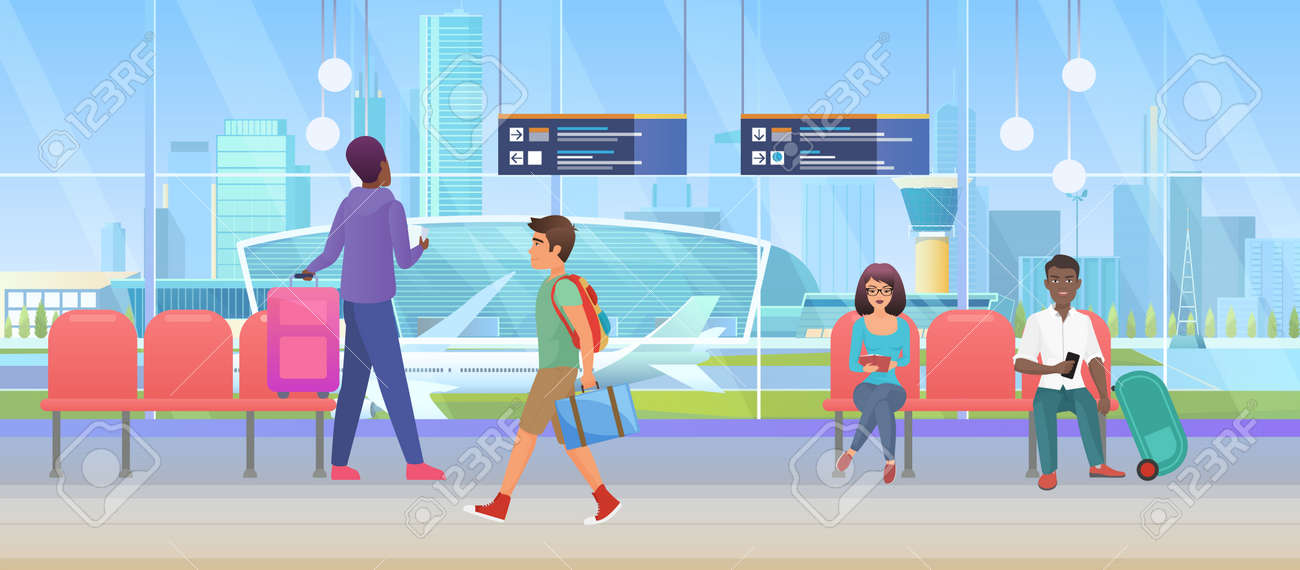 Airport arrival waiting room or international departure lounge with people tourists vector illustration. Cartoon man woman passenger characters wait to fly by plane, sitting in chairs background - 169878215