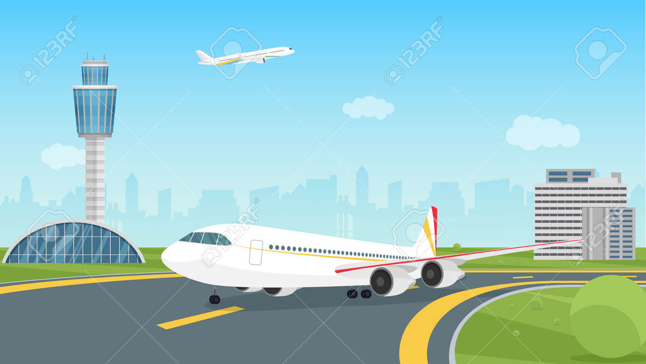 Airplane taking off from airport runway, passenger aircraft takeoff illustration. Cartoon landscape airport view with aeroplane on airfield, control traffic tower, city building silhouettes background - 169878221