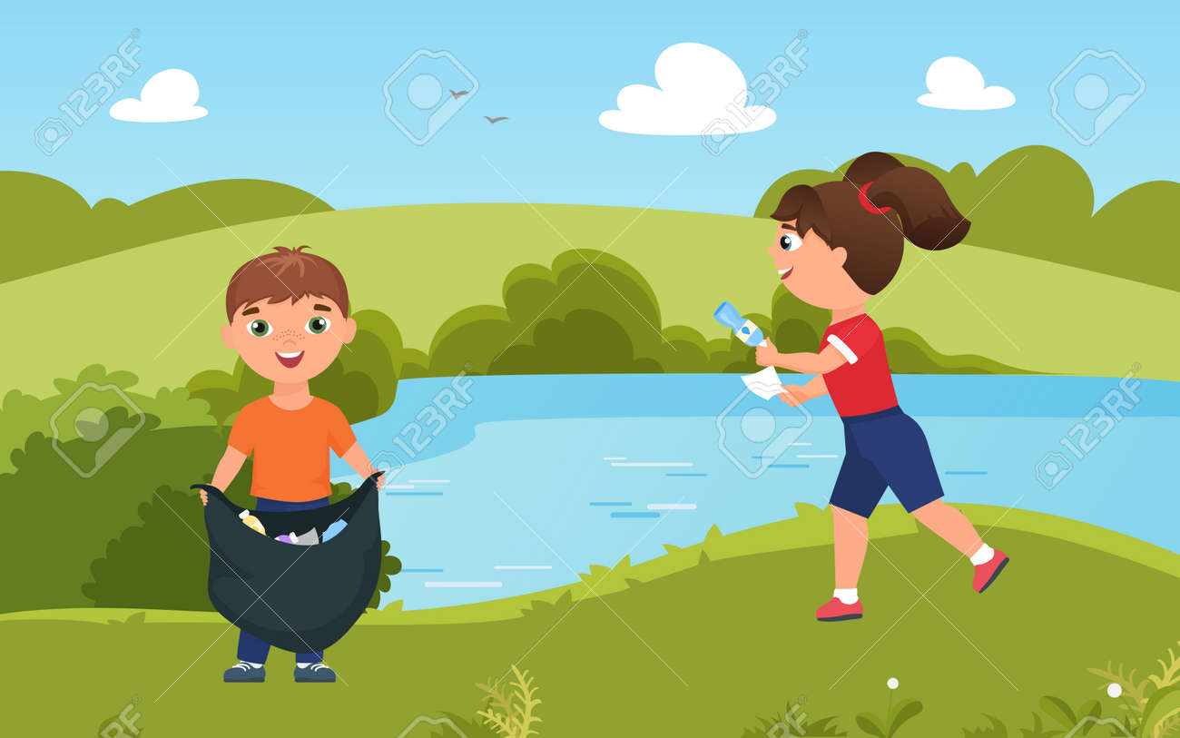 Children collect trash garbage, clean nature vector illustration. Cartoon cute team of volunteer boy girl characters cleaning green summer park together, friends gathering plastic rubbish bottles - 169878225
