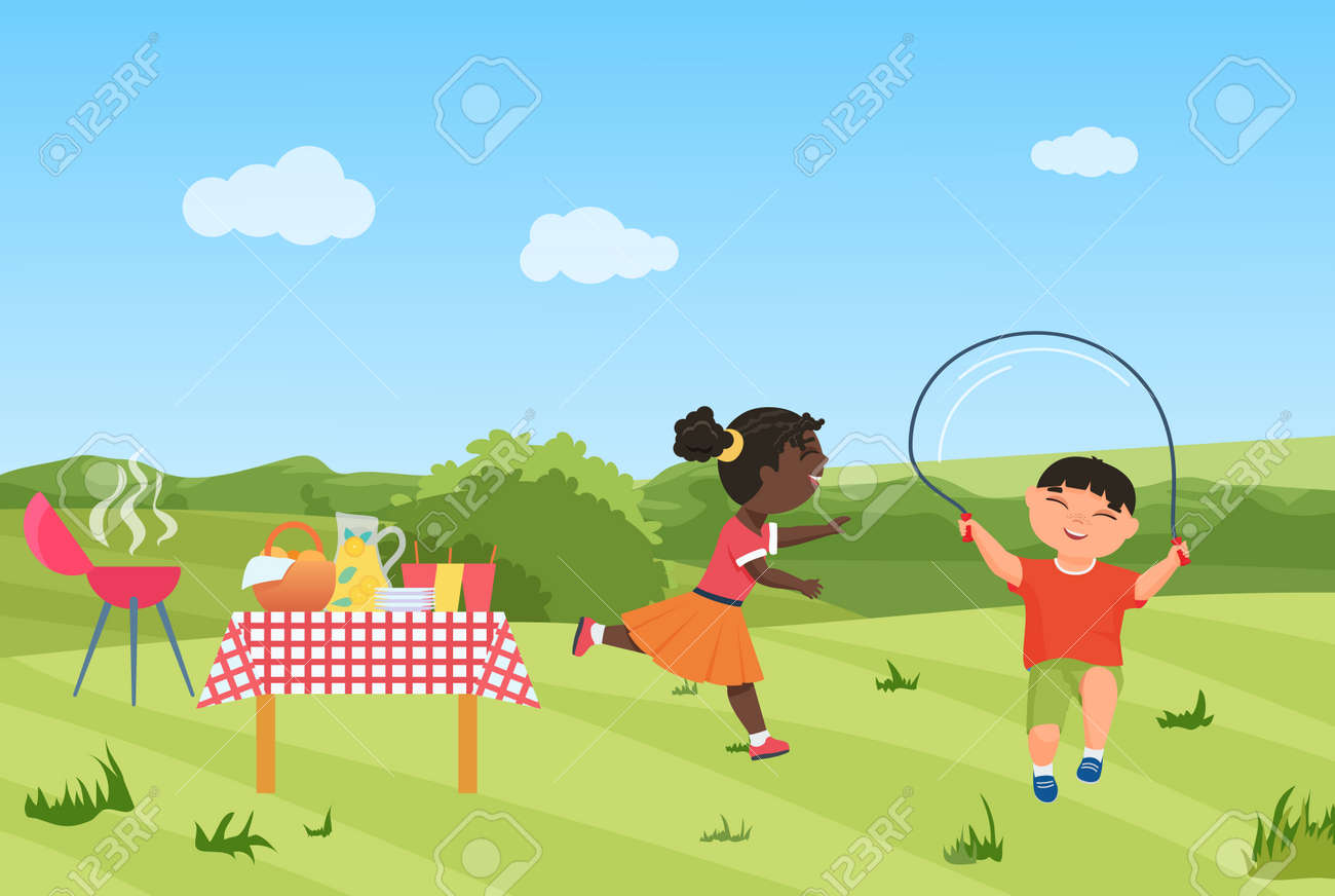 Happy children have fun on barbecue picnic party together vector illustration. Cartoon girl child running, boy character jumping rope, healthy sport activity in summer green garden or park background - 169878222