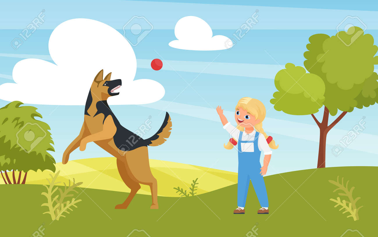Happy girl playing fun game with dog in playground or summer nature park vector illustration. Cartoon cute kid character training puppy pet outdoor, animal pet friend jumping catching ball background - 169878224
