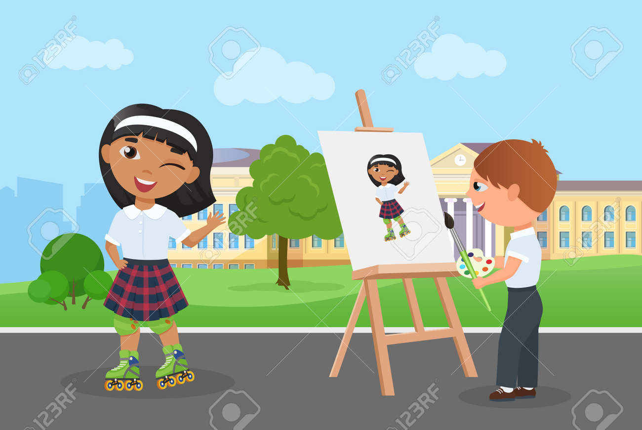 Children friends spend fun time together in park vector illustration. Cartoon young artist character holding paintbrush, palette with paints painting art portrait of girl in school uniform background - 169878230