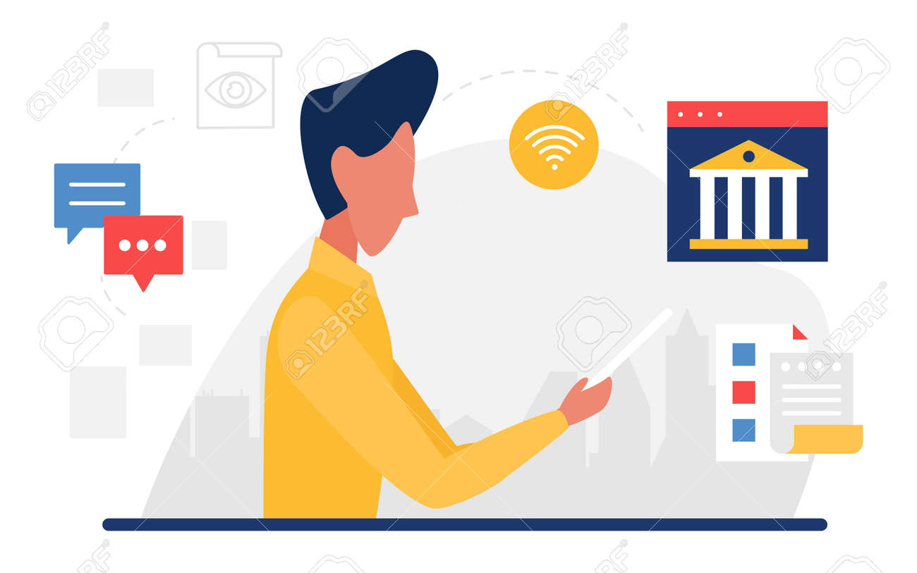 Business communication, account bank support service concept vector illustration. Cartoon customer man character holding mobile phone, banking call center, online messenger hotline windows icons - 169878227