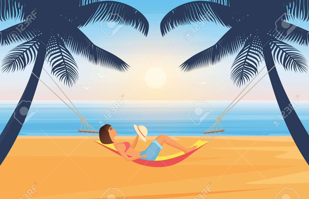People relax and sunbathe on summer sea beach in tropical island vector illustration. Cartoon young woman character with hat sunbathing, lying in hammock, summertime travel vacation background - 169878233