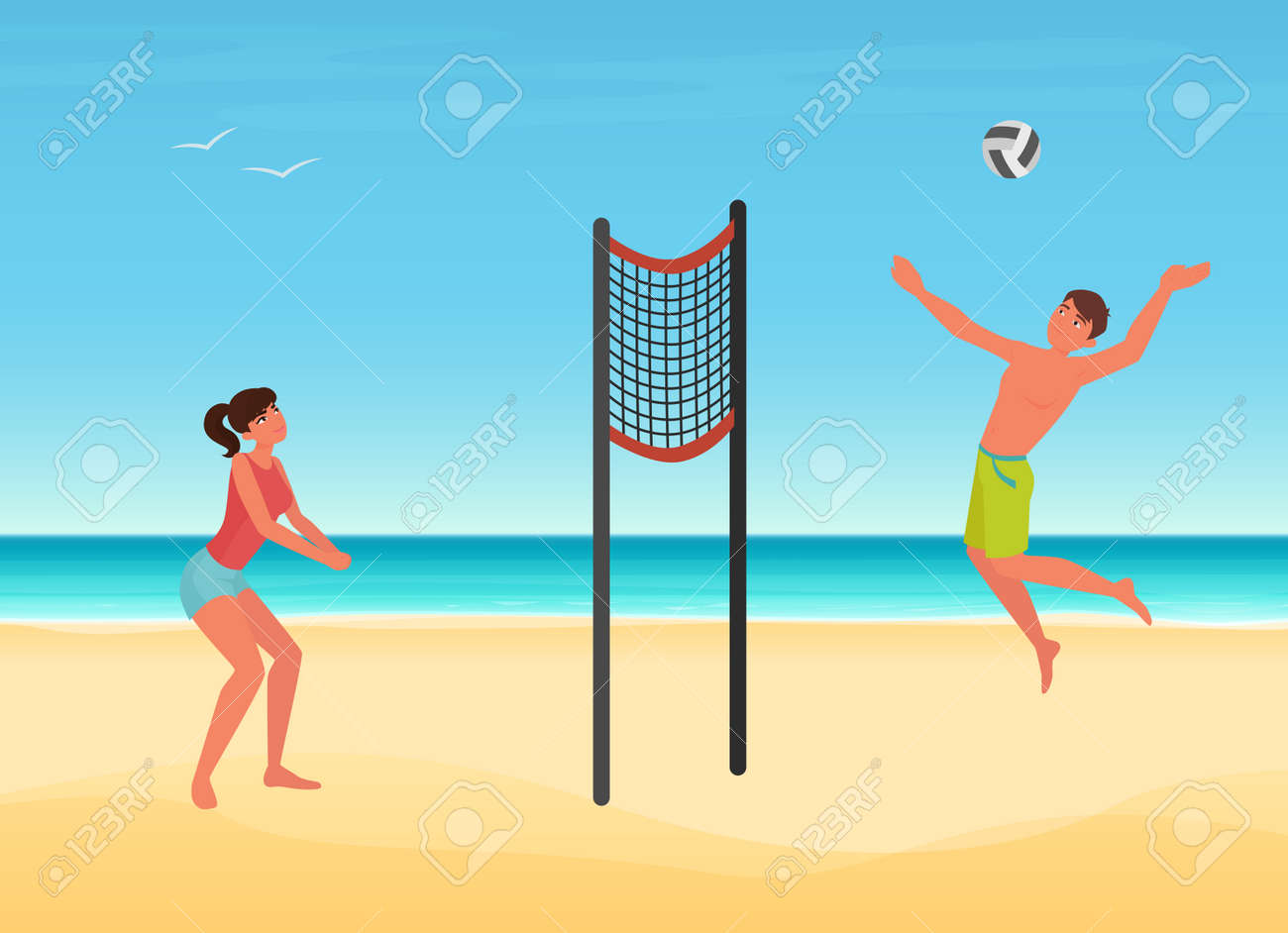 Couple people play volleyball on summer sea beach of tropical island vector illustration. Cartoon young woman man player character playing ball, jumping, summertime sport travel vacation background - 169878359