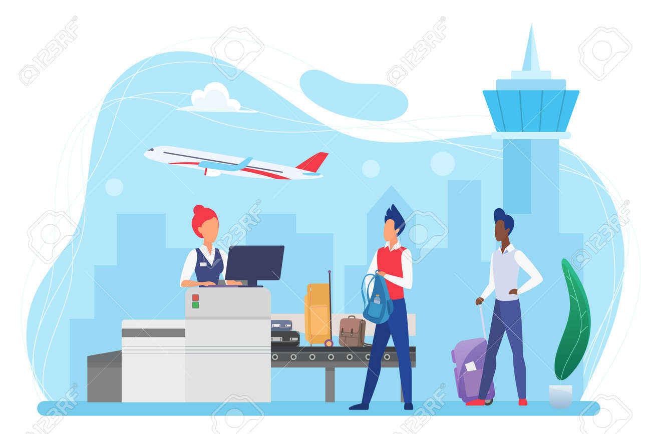 People passengers and luggage conveyor belt machine in airport vector illustration. Cartoon tourist characters with suitcases passing control on bags check security inspection isolated on white - 170310890