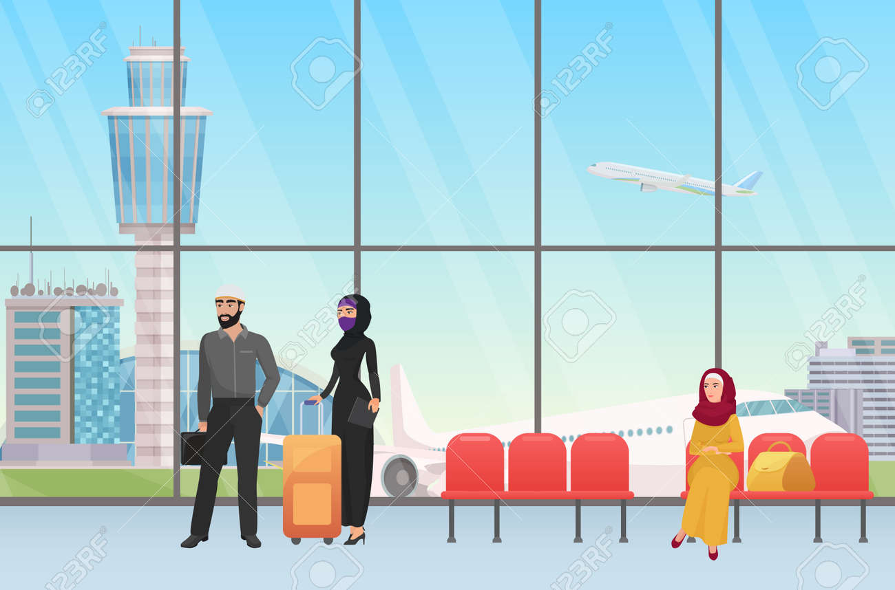 Arab people waiting for flight in airport hall terminal departure interior with panoramic window vector illustration. Cartoon young muslim woman in hijab standing with personal baggage before travel - 170311048