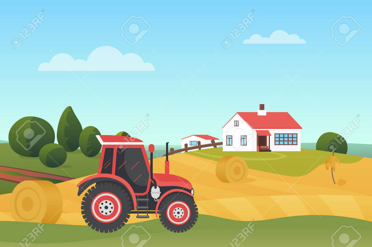 Harvesting in autumn landscape, modern farm tractor on wheat fields with haystacks vector illustration. Cartoon countryside village scenery, agricultural machine, farmhouse building on hill background - 170311739