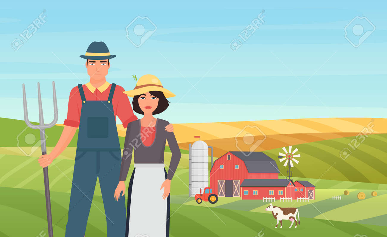 Farmer agrarian people work on cattle livestock farm in village agriculture landscape vector illustration. Cartoon young man woman couple characters holding pitchfork, working on field background - 170373989