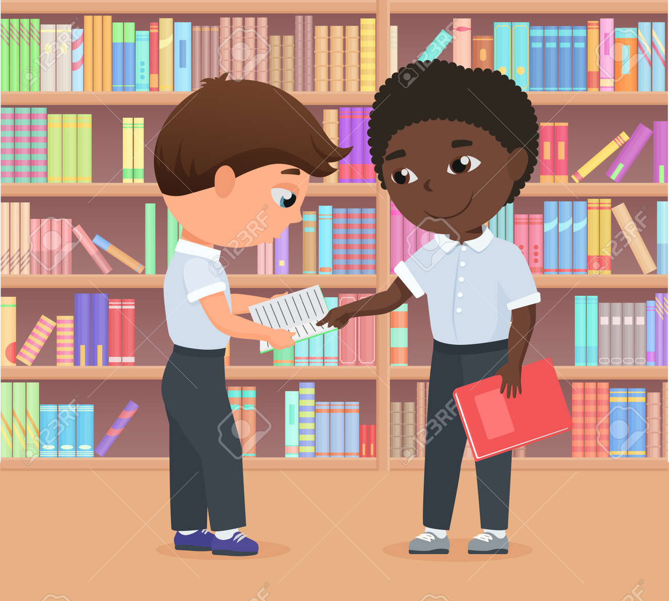 Children standing in library or bookstore together, kids study vector illustration. Cartoon character holding book, student boy helping friend to do homework, learning difficulties problems background - 170311169