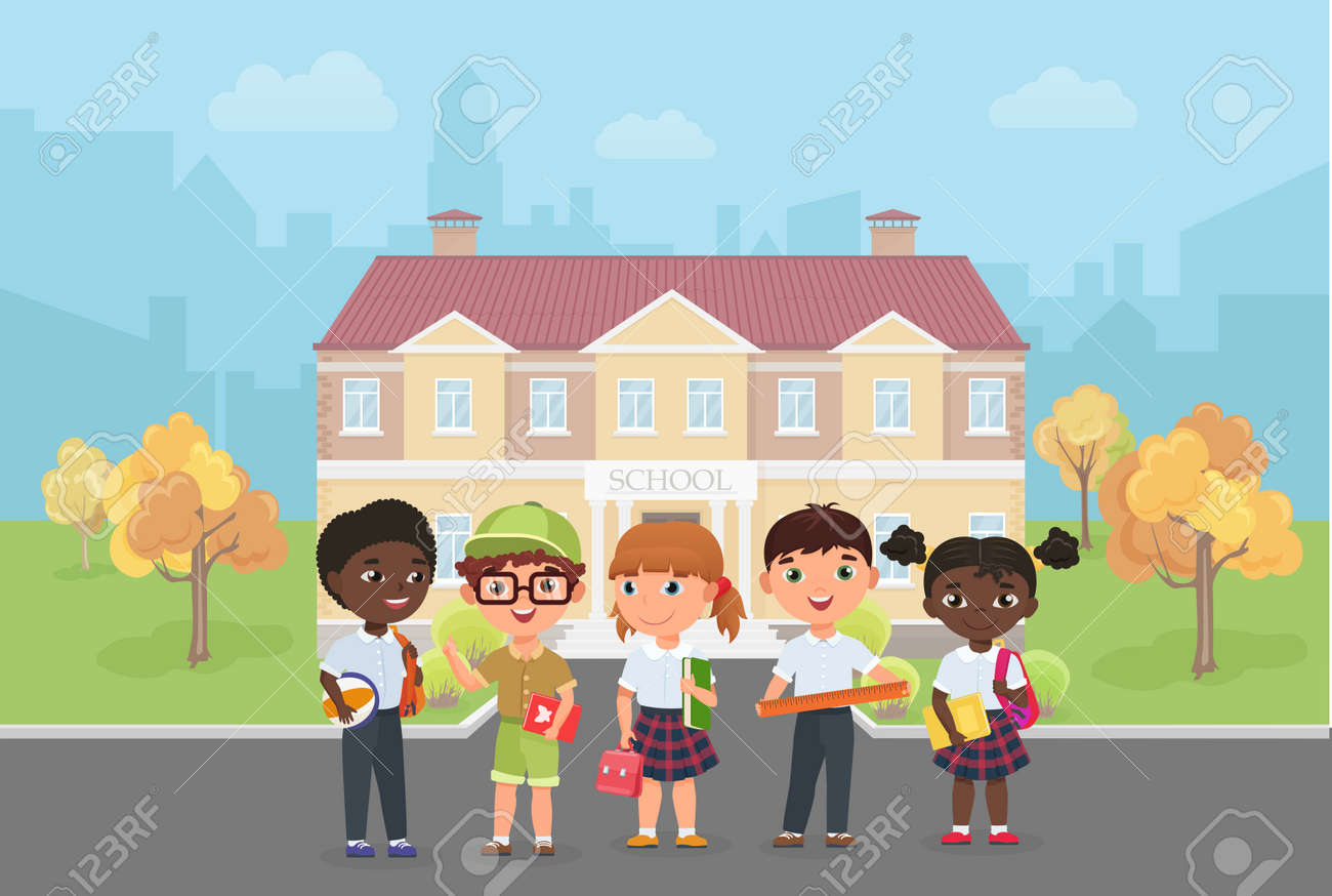 Children students stand in front of school building vector illustration. Cartoon diverse group of kids ready to learn and study, funny little girl boy child characters standing together background - 170310810