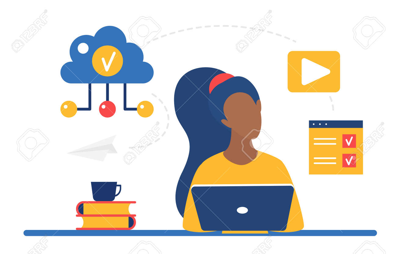 Cloud storage system for business remote work vector illustration. Cartoon woman character working online with laptop, sitting at table, download and upload data information files via internet - 170373992