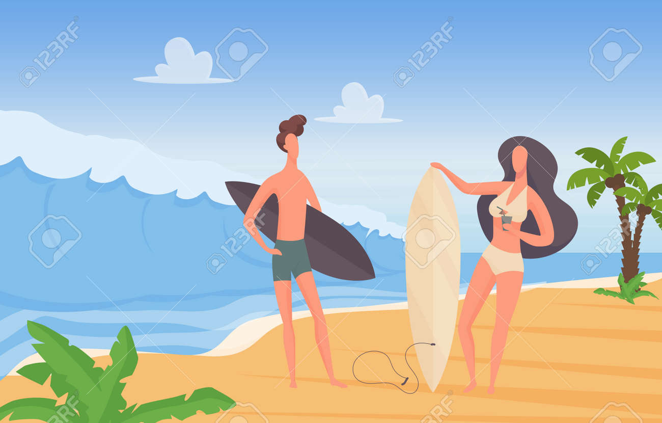 Surfer couple people with surfboards on summer sport, travel extreme vacation adventure vector illustration. Cartoon young man woman characters standing together at sunny seaside landscape background - 170310979