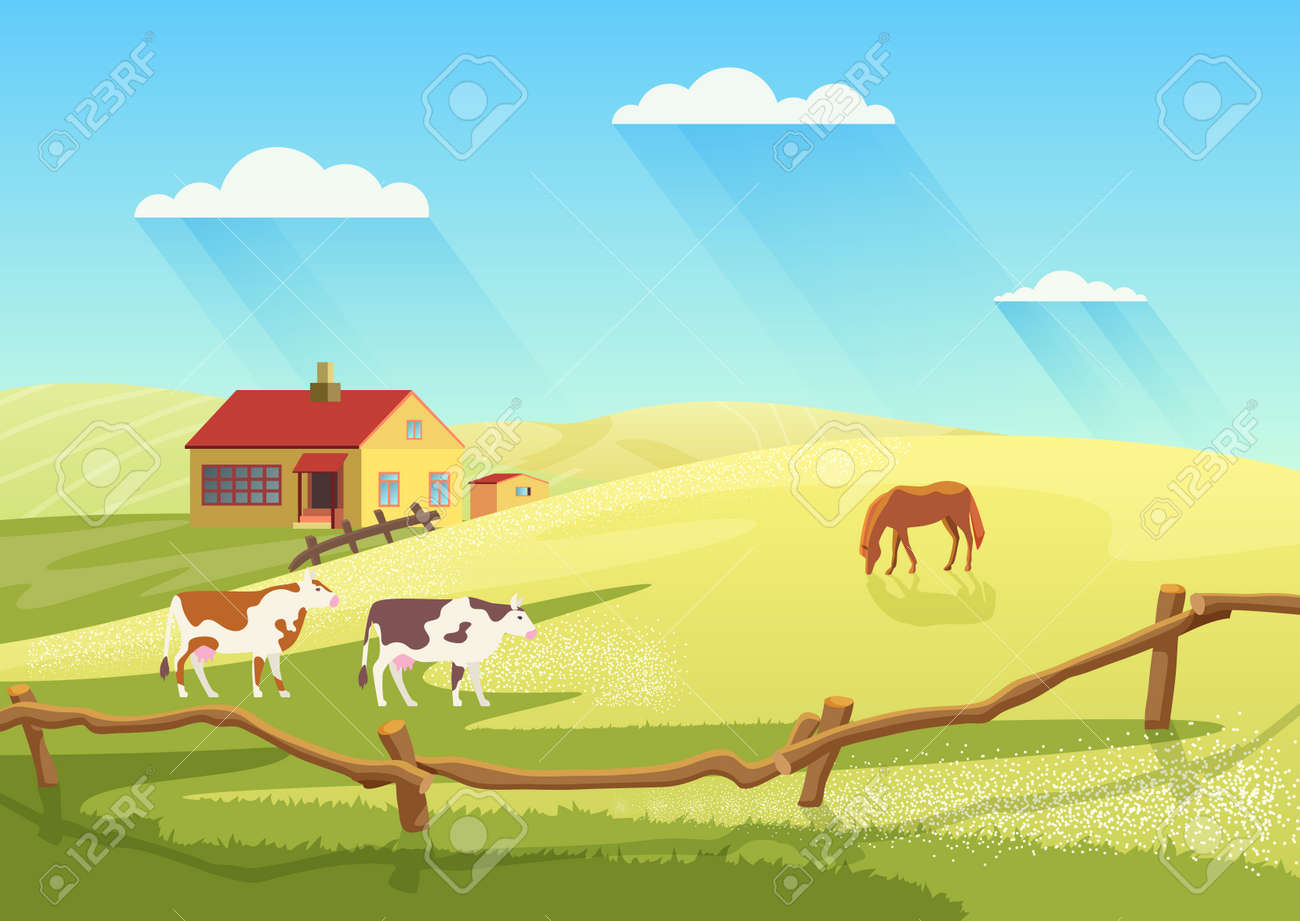 Village dairy farm with cows, rural ranch countryside summer landscape vector illustration. Cartoon cow and horses animals, farmland cattle grazing on summer meadow field next to farmhouse background - 170311761