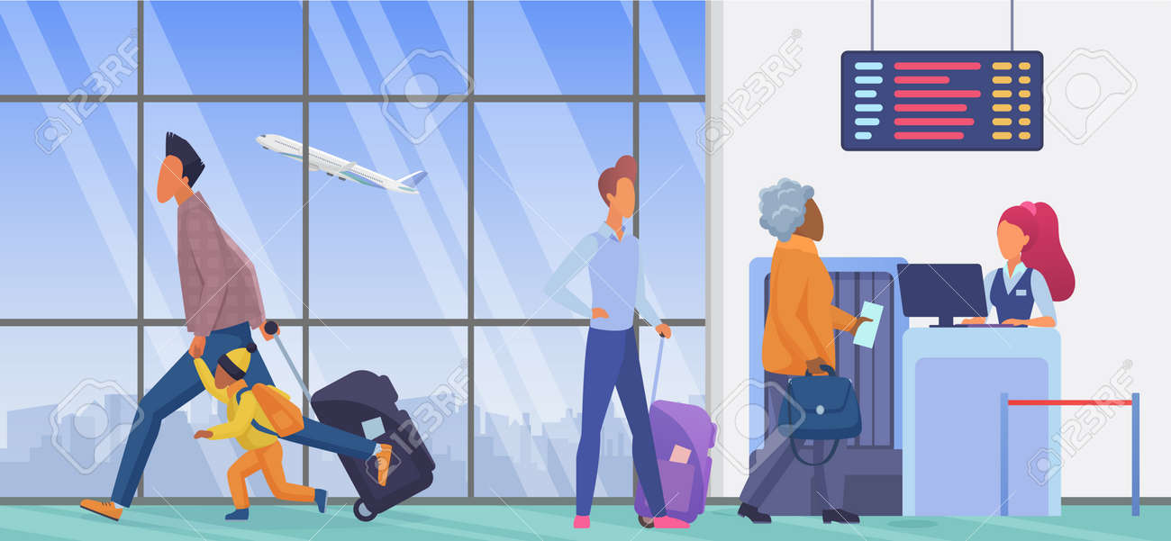 People in airport departure terminal vector illustration. Cartoon persons waiting in line to flight check in, father and child passenger characters with suitcase run for airplane gate background - 170638301