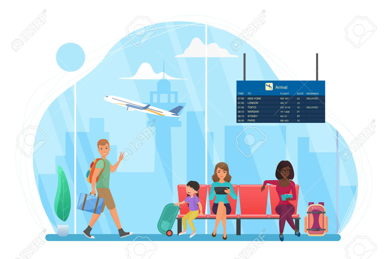 Happy people travel, wait at airport for trip flight vector illustration. Cartoon man tourist character walking, young mother with kid sitting on seats, woman reading in waiting area isolated on white - 170638551
