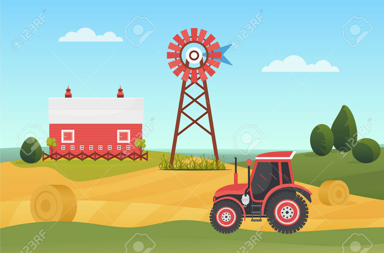 Farm agricultural tractor on village lands, countryside ranch landscape vector illustration. Cartoon agriculture machinery working on farmland field with haystacks, house barn on hill background - 170638533