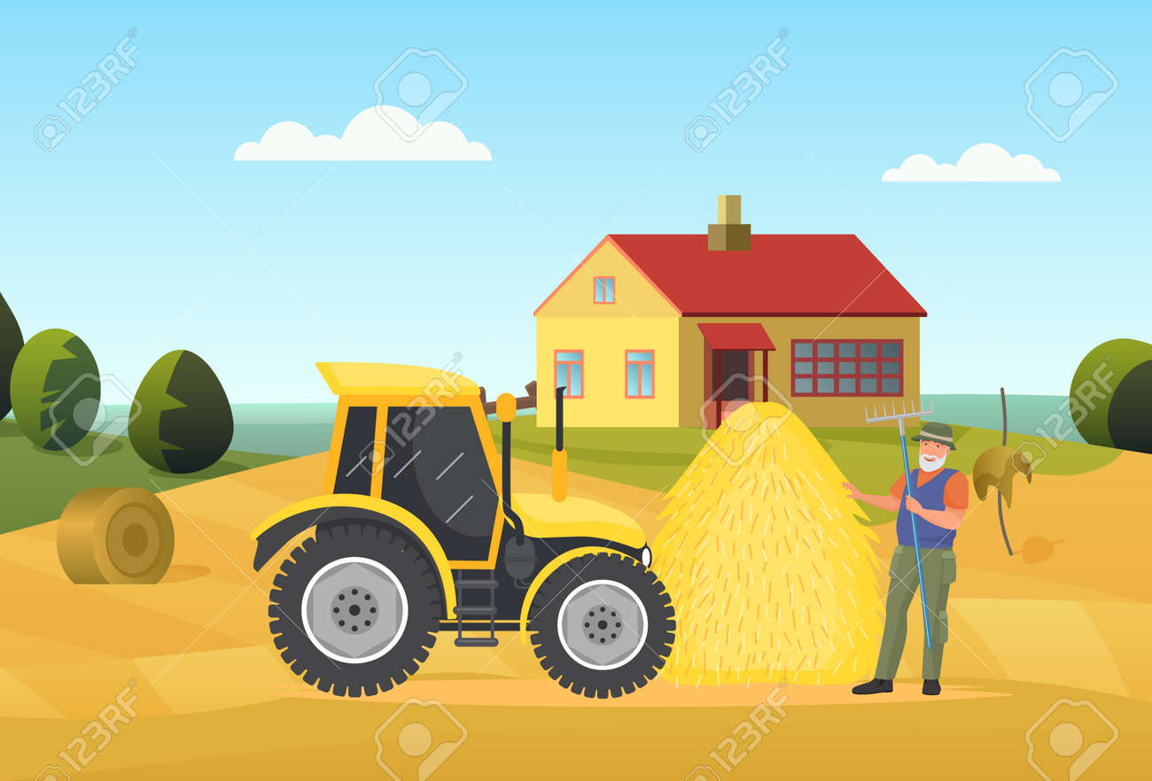 Farmer people work in village rural landscape vector illustration. Cartoon elderly man worker character holding pitchfork, standing next to tractor agriculture machine and haystack on field background - 170638334