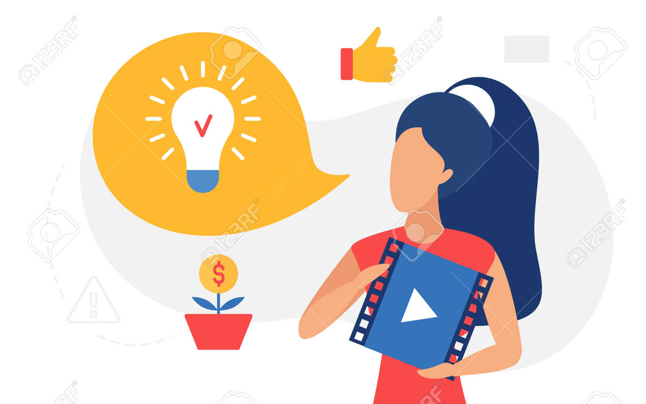 Online education, lightbulb lamp concept vector illustration. Cartoon woman character holding video player with business training course podcast icon to get idea and inspiration, internet learning - 170638767