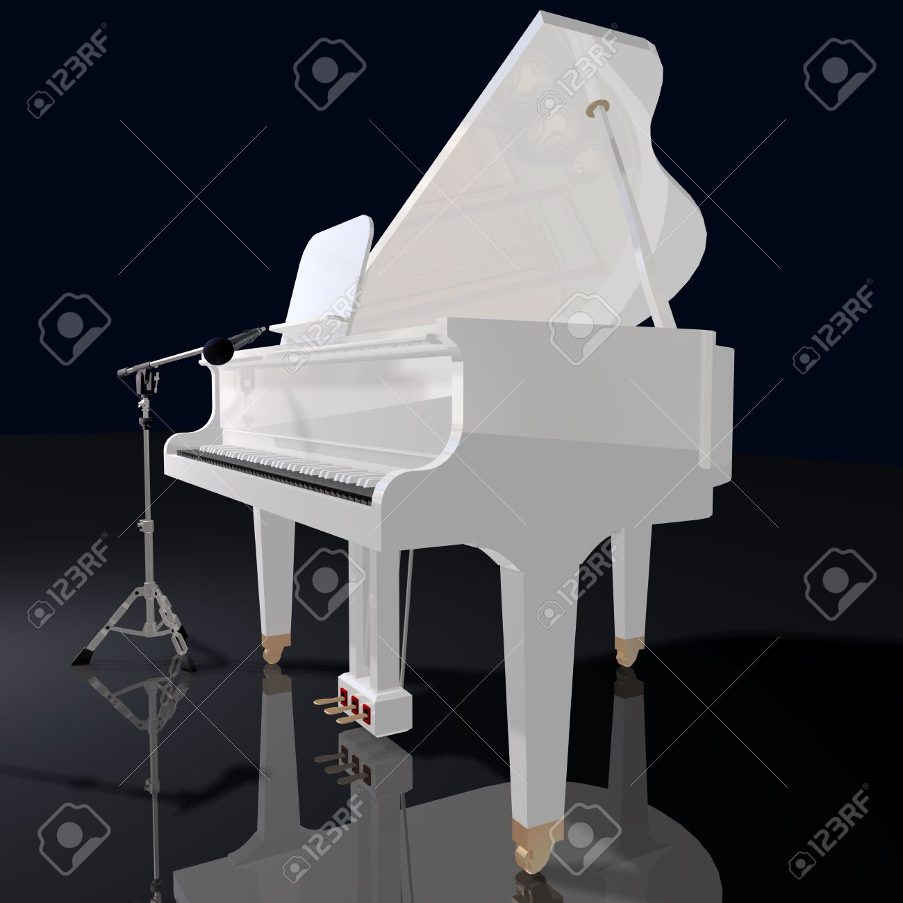 Piano Black Background Gand Piano And Mic on a Black
