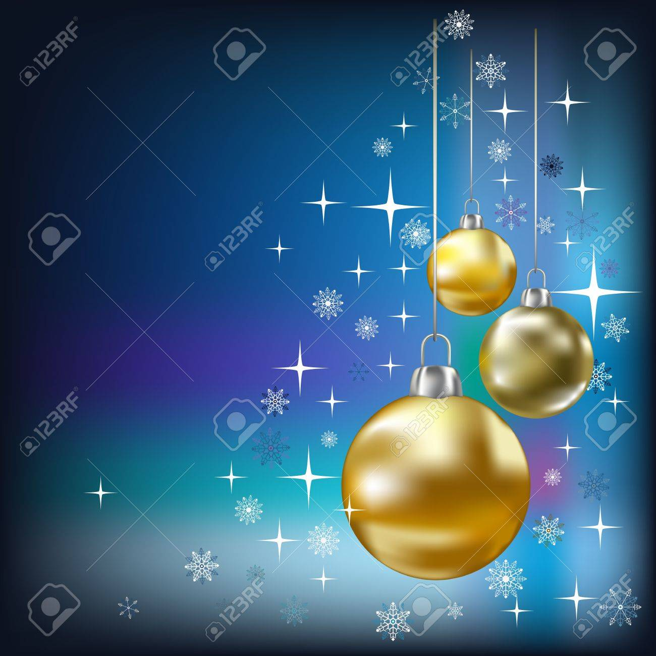 Christmas balls and stars blue  background Stock Vector - 7833743