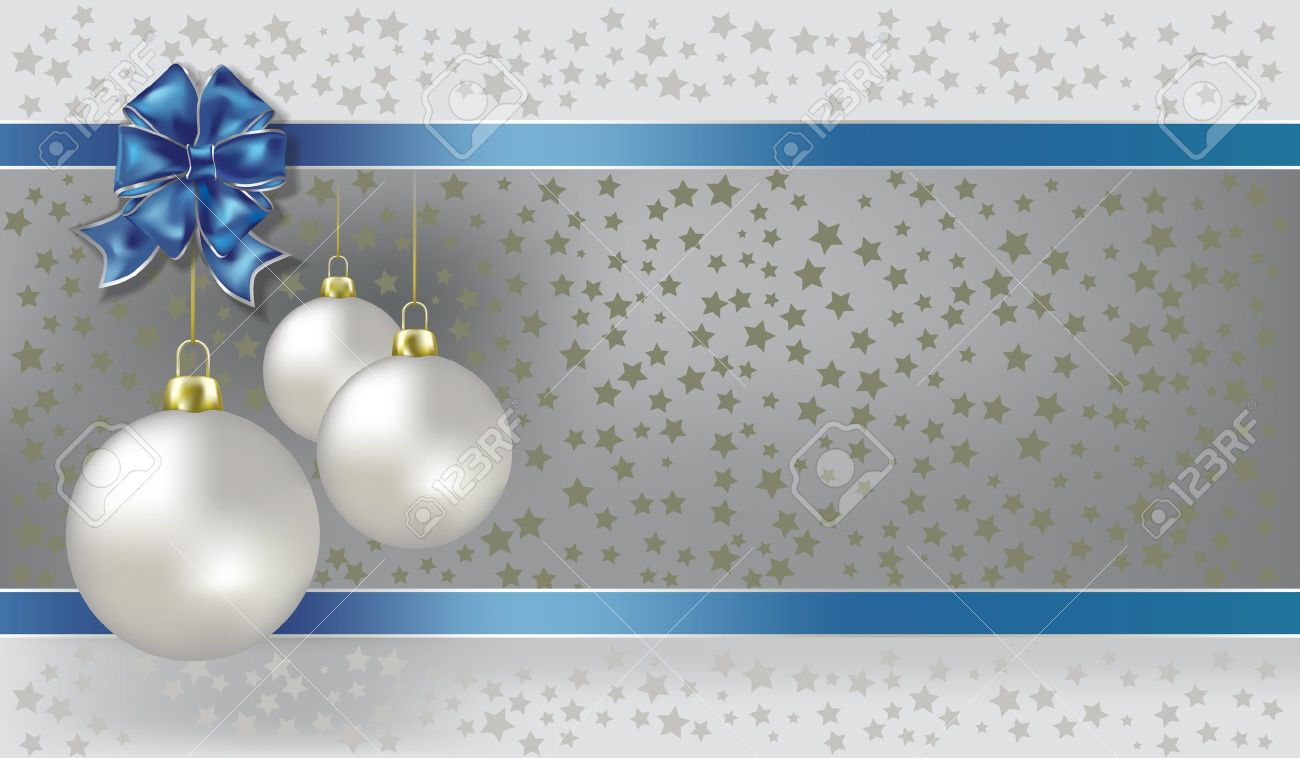 Christmas Balls And Stars Silver Background Royalty Free Cliparts ...