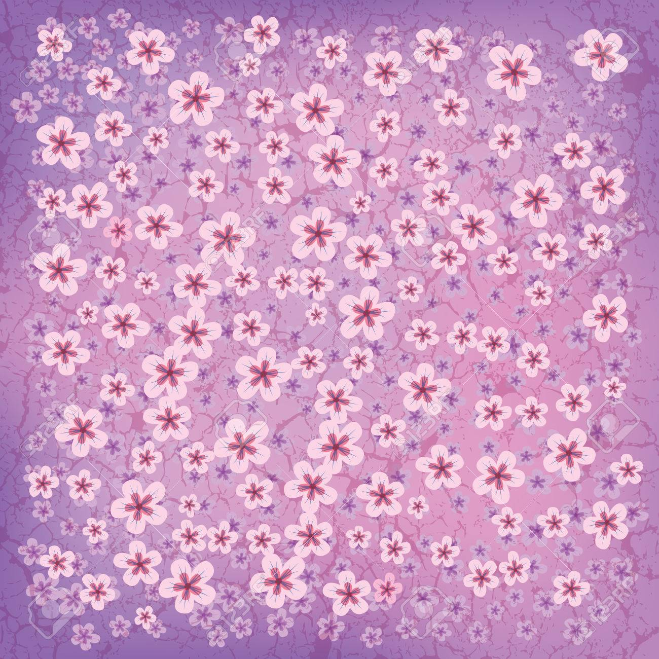 abstract floral background with small flowers on pink Stock Vector - 8984201